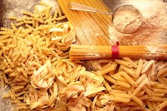 Mixed pasta with variety shapes and types Royalty Free Stock Photos