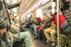 Mixed people in New York subway - Manhattan underground Royalty Free Stock Photos