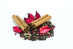 Mixed Pepper And Cinnamon Sticks Royalty Free Stock Photo