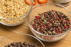 Mixed pepper on the kitchen table. Close-up Royalty Free Stock Photos