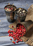 Mixed pepper in metallic bowl Stock Photos