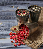 Mixed pepper in metallic bowl Royalty Free Stock Images