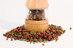 Mixed pepper with peppermill Stock Photography