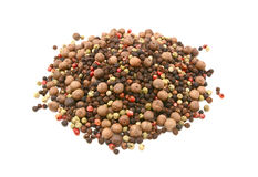 Mixed peppercorns - black, white, pink, green, pimento Royalty Free Stock Photography