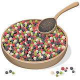 Mixed Peppercorns On Wooden Plate And Spoon Stock Photos
