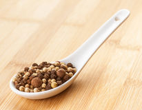 Mixed peppercorns in spoon Royalty Free Stock Photography
