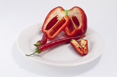 Mixed peppers on plate Royalty Free Stock Photo