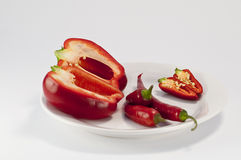 Mixed peppers on plate Stock Image