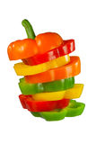 Mixed peppers in stack Stock Photo