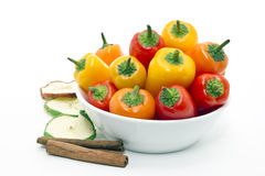 Mixed peppers in white plate Royalty Free Stock Photo