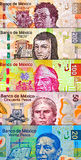 Mixed peso Bills Background Royalty Free Stock Photo