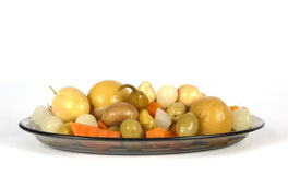 Mixed pickled isolated. On white background Royalty Free Stock Photo