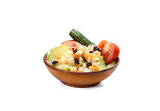 Mixed pickled vegetables in bowl  on white Stock Images