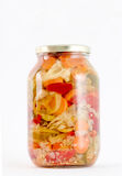 Mixed pickled vegetables in glass jar Royalty Free Stock Photos