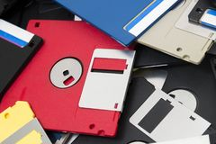 Pile of floppy disks. Mixed pile of obselete computer floppy disks Royalty Free Stock Photography