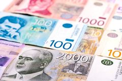 Mixed pile of Serbian money RSD. Different mixed Serbian money RSD royalty free stock images
