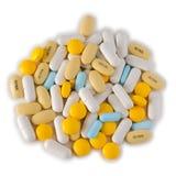 Mixed pills on white Stock Photos