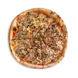 Mixed pizza with mushrooms, ham and cheese Royalty Free Stock Photo