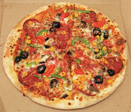 Mixed pizza in pizza box Royalty Free Stock Photography