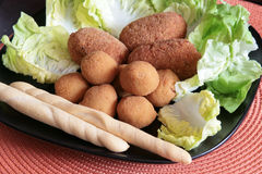 Mixed plate of fried appetizers Stock Images