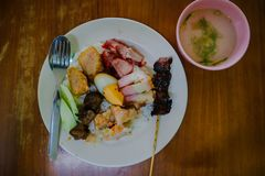 Mixed pork rice food is a Chinese characteristic that exists in Indonesia. stock images