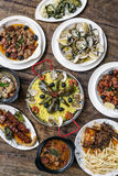 Mixed portuguese traditional rustic tapas food selection on wood Stock Photo
