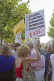 Mixed Protesters Hold Signs at Moral MOnday rally in Asheville, Stock Photography