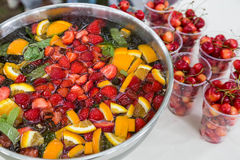 Free Mixed Punch With Fruits In Metal Bowl Royalty Free Stock Images - 32423969