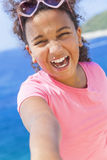 Mixed Race African American Girl Child Selfie wearing Sunglasses Royalty Free Stock Photos