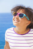 Mixed Race African American Girl Child Sunshine Sunglasses Stock Photography