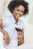 Mixed Race African American Girl Drinking Red Wine Royalty Free Stock Image