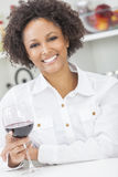 Mixed Race African American Girl Drinking Red Wine Stock Images