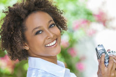 Mixed Race African American Girl Outside With Camera Stock Images