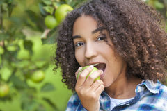 Mixed Race African American Girl Teenager Eating Apple Royalty Free Stock Images