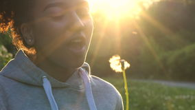 Mixed race African American girl teenager girl young woman blowing dandelion at sunset stock video