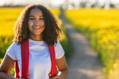 Mixed Race African American Girl Teenager Hiking Royalty Free Stock Image