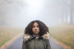 Mixed Race African American Girl Teenager in Mist Royalty Free Stock Photo