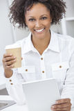 Mixed Race African American Girl Using Tablet Computer Royalty Free Stock Photos
