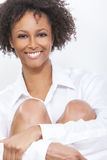 Mixed Race African American Woman Girl in White Shirt Stock Photos