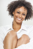 Mixed Race African American Woman Girl in White Shirt Stock Images