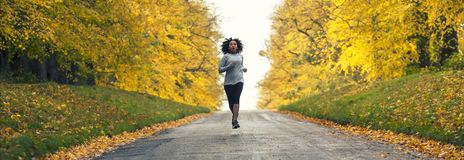 Mixed Race African American Woman Teenager Fitness Running Panorama royalty free stock image