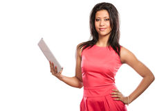 Mixed race african woman using pc tablet. Stock Image