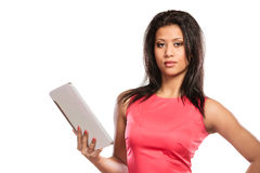 Mixed race african woman using pc tablet. Stock Photo