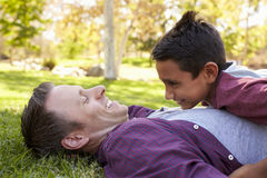 Mixed race Asian boy lying on top of his dad in a park Royalty Free Stock Image