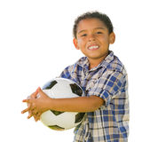 Mixed Race Boy Holding Soccer Ball on White. Mixed Race Boy Holding Soccer Ball Isolated on a White Background Royalty Free Stock Image