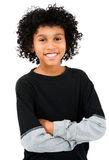 Mixed Race Boy Standing. With his arms crossed isolated over white Royalty Free Stock Photography