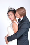 Mixed Race Bride and Groom in Studio Royalty Free Stock Photos