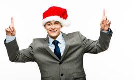 Mixed race businessman celebrating christmas isolated on white b Stock Photography