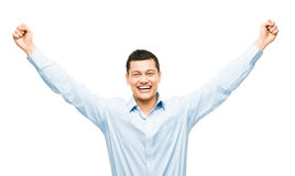 Mixed race businessman celebrating success isolated on white bac Stock Photography