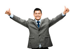 Mixed race businessman celebrating success isolated on white bac Royalty Free Stock Photos